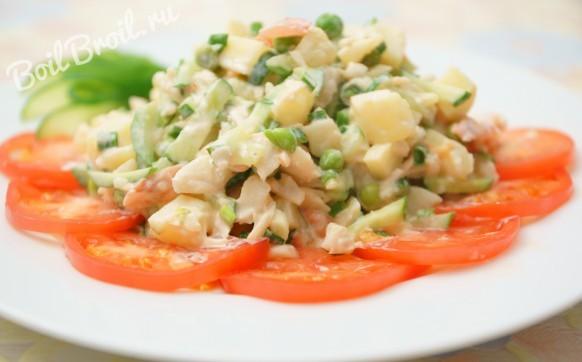 Салат с отварной треской и картофелем