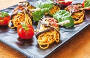 Рулеты из баклажанов со спагетти