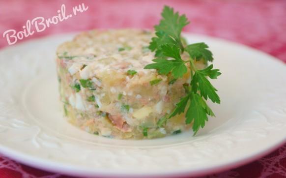 Салат из печени трески с картофелем