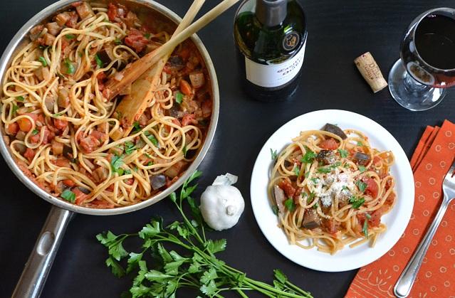 Спагетти с баклажанами рецепт