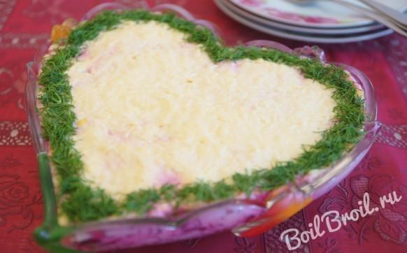 Салат невеста рецепт с курицей вареной