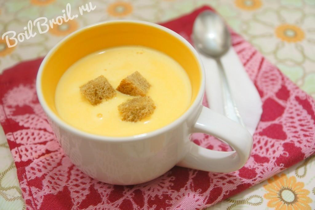 суп пюре из шампиньонов с плавленным сыром и курицей рецепт