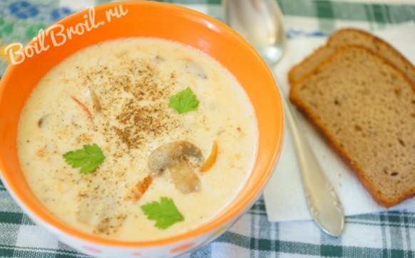 Грибной суп с плавленным сыром