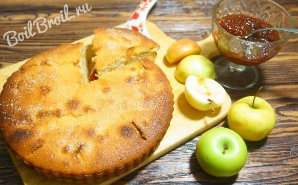 манник на кефире с яблоками рецепт с фото пошагово