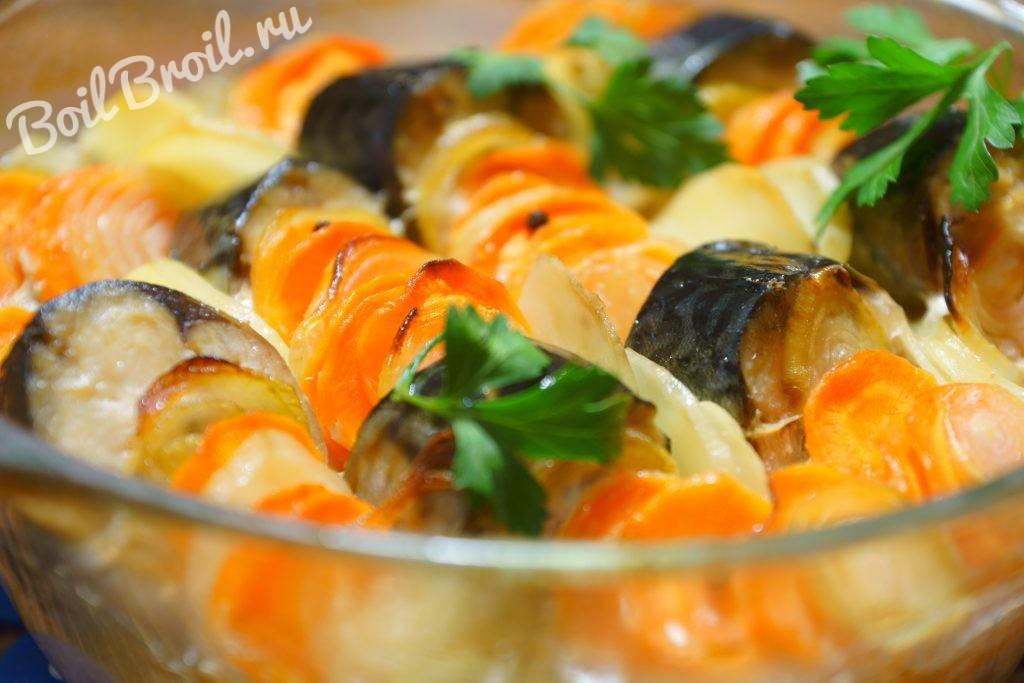 скумбрия с картошкой запеченная в рукаве в духовке рецепт с фото