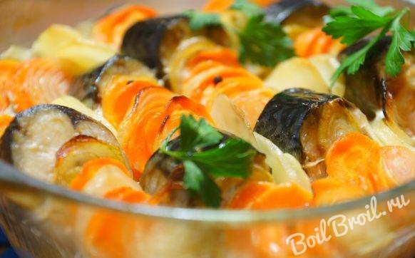 Скумбрия запеченная в духовке с картошкой