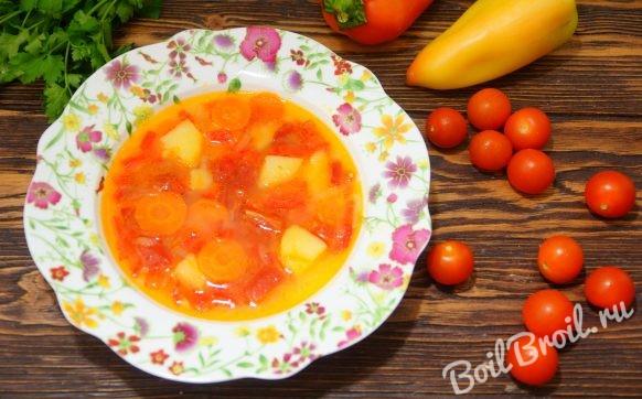 Суп с болгарским перцем и помидорами